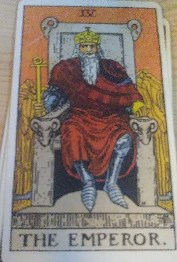 Card 3 is the past. The Emperor